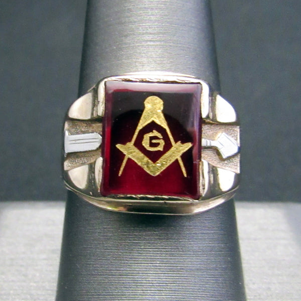 Solid 10K Yellow White Gold Syn Red Ruby Masonic Arrow Mens Vintage Ring - Size 9-Men's Jewelry-DJR Authentication