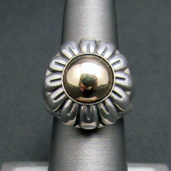Barry Kieselstein-Cord 14K Solid Gold Sterling Silver 925 Flower Ring Size 6 w/ Box-Women's Jewelry-DJR Authentication