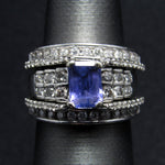 Solid 14K White Gold Tanzanite .75 ctw Genuine Diamond Wedding Bridal Set - Size 4
