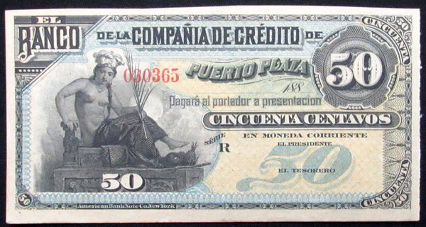 1880 50 Centavos Dominican Republic Banknote UNC-World Coins & Paper Money-DJR Authentication