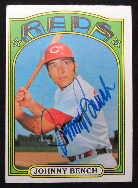 1972 Topps Johnny Bench #433 Signed Baseball Card EX-NM AUTO DJR COA-Baseball Memorabilia-DJR Authentication