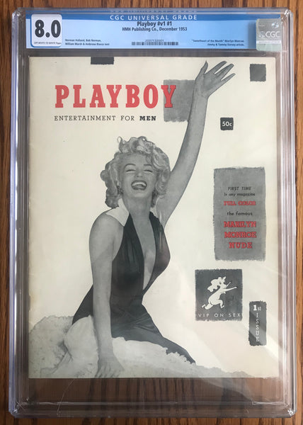 December 1953 Playboy Marilyn Monroe #v1 #1 HMH Magazine CGC Universal 8.0-Antiques & Collectibles-DJR Authentication