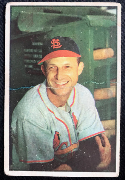 1953 Bowman Color Stan Musial Cardinals #32 #24 HOF G-VG Baseball Card - DJR Authentication An Appraisal & Authentication Co.