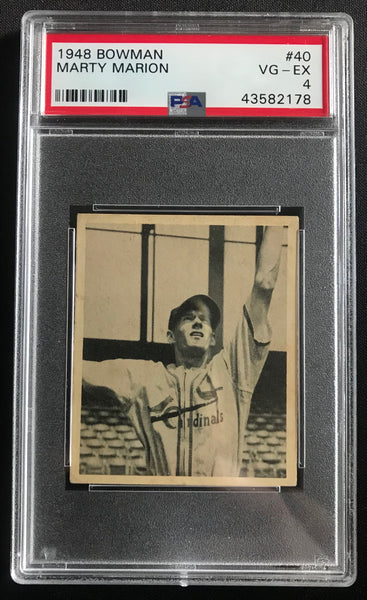 1948 Bowman Marty Marion Cardinals #40 Rookie Baseball Card VG-EX PSA 4 - DJR Authentication An Appraisal & Authentication Co.