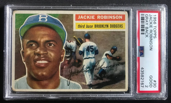 1956 Topps Jackie Robinson Dodgers #30 Baseball Card Good PSA 2 - DJR Authentication An Appraisal & Authentication Co.