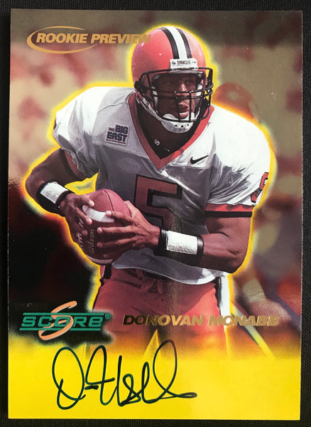 1999 Score Donovan McNabb Syracuse Orange Signed Rookie Football Card NM-MT AUTO DJR COA - DJR Authentication An Appraisal & Authentication Co.