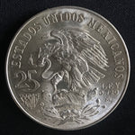 1968 Mexico 25 Pesos Silver Olympiada XIX Olympic Games Coin AU/BU-World Coins & Paper Money-DJR Authentication