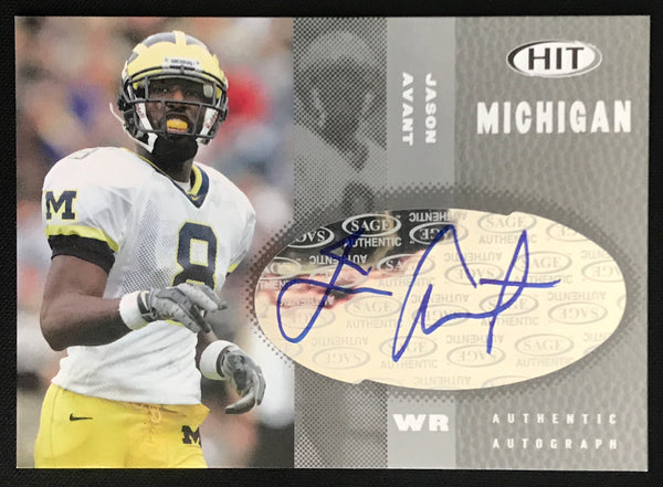 2006 SAGE Jason Avant Wolverines #A48 Signed Rookie Football Card NM-MT AUTO DJR COA - DJR Authentication An Appraisal & Authentication Co.