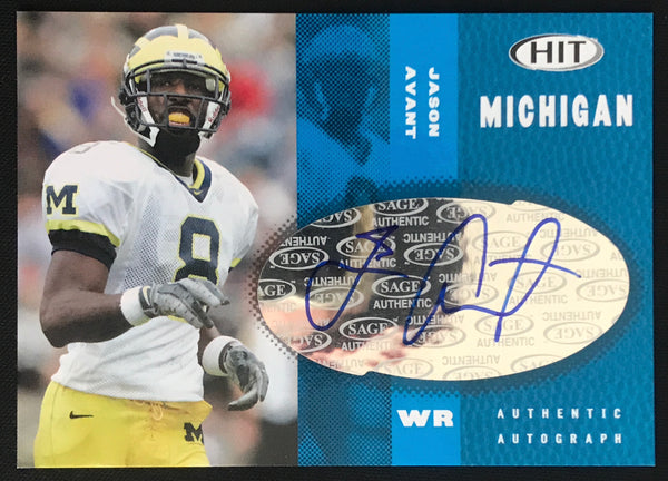2006 SAGE Jason Avant Blue Wolverines #A48 Signed Rookie Football Card NM-MT AUTO - DJR Authentication An Appraisal & Authentication Co.