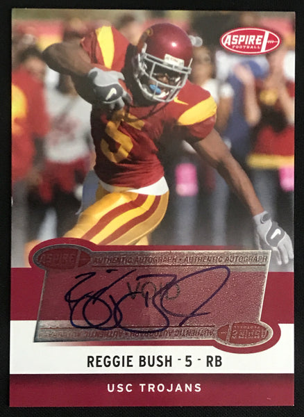 2006 Aspire Reggie Bush Trojans #1A Signed Rookie Football Card NM-MT AUTO - DJR Authentication An Appraisal & Authentication Co.