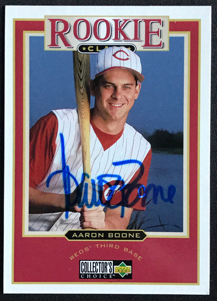 1997 Upper Deck Aaron Boone Reds #467 Signed Rookie Baseball Card NM-MT AUTO DJR COA - DJR Authentication An Appraisal & Authentication Co.