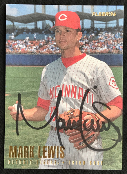 1996 Fleer Mark Lewis Reds #114 Signed Baseball Card NM-MT AUTO DJR COA-Baseball Memorabilia-DJR Authentication