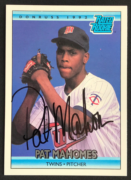 1992 Donruss Pat Mahomes Twins #403 Signed Rookie Baseball Card NM-MT AUTO DJR COA - DJR Authentication An Appraisal & Authentication Co.