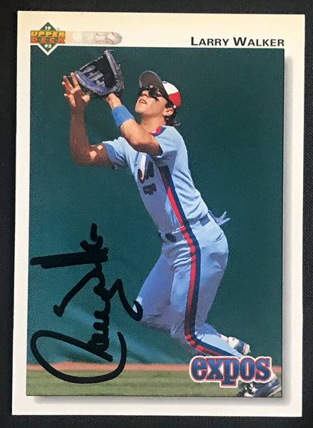 1992 Upper Deck Larry Walker Expos #249 Signed Baseball Card NM AUTO DJR COA-Baseball Memorabilia-DJR Authentication