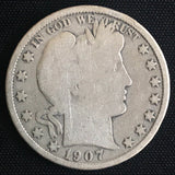 1907-O Barber Silver Half Dollar Uncirculated G-VG - DJR Authentication An Appraisal & Authentication Co.