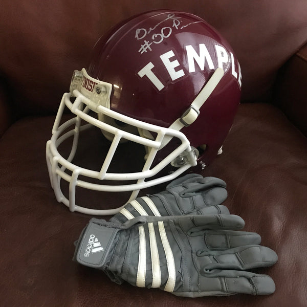 Bernard Pierce Game Used Signed Temple University Helmet Gloves Ravens Super Bowl XLVII Champ AUTO DJR COA - DJR Authentication An Appraisal & Authentication Co.