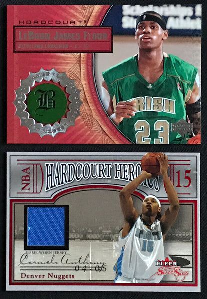 2003-04 LeBron James & Carmelo Anthony Hardcourt Floor Jersey Card Rookie RC Lot - DJR Authentication An Appraisal & Authentication Co.