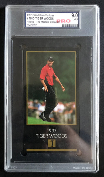 1997 GSV Grand Slam Ventures Gold Tiger Woods Rookie RC Graded 9.0 Mint Golf Card - DJR Authentication An Appraisal & Authentication Co.