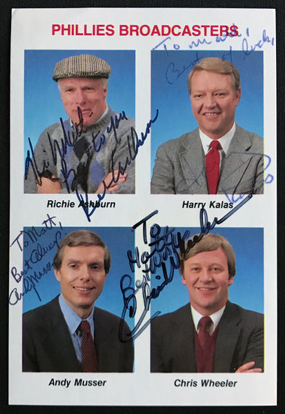RARE 1985 Philadelphia Phillies Broadcasters Signed Tastykake Baseball Card AUTO NM-MT DJR LOA - DJR Authentication An Appraisal & Authentication Co.