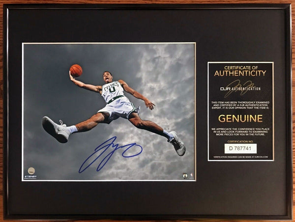 Jayson Tatum Signed Boston Celtics Rookie 8x10 Photo Custom Framed AUTO DJR COA - DJR Authentication
