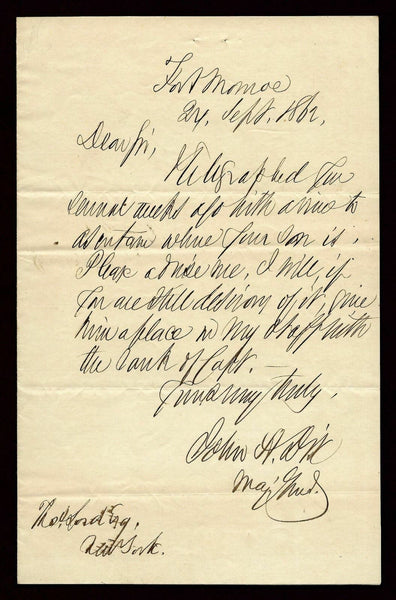 John A. Dix - Civil War General - 1862 Signed Letter AUTO DJR COA-Historical Memorabilia-DJR Authentication