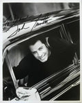 John Travolta Signed 8x10 B&W Promotional Promo Classic Car Photo AUTO DJR COA - DJR Authentication