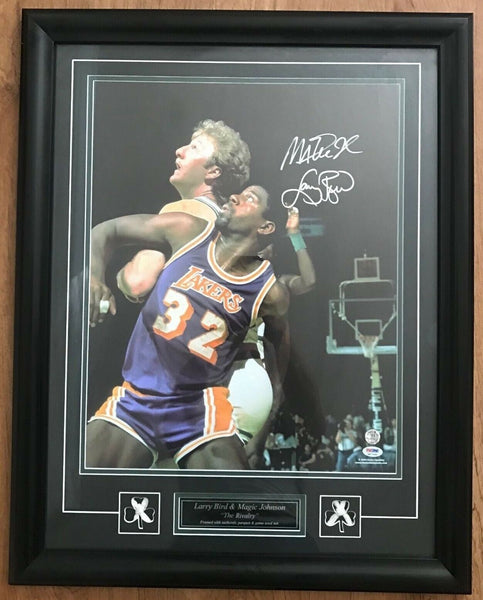 Larry Bird Magic Johnson Dual Signed 16x20 Vintage Photo Framed AUTO DJR COA - DJR Authentication