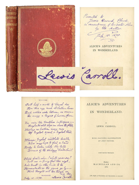 "Lewis Carroll Signed & Handwritten Poem ""Alice's Adventures in Wonderland"" Book-Historical Memorabilia-DJR Authentication"