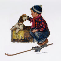 "Original Norman Rockwell ""Puppy Love"" Suite Set of (4) Signed Lithographs 72/200 - DJR Authentication"