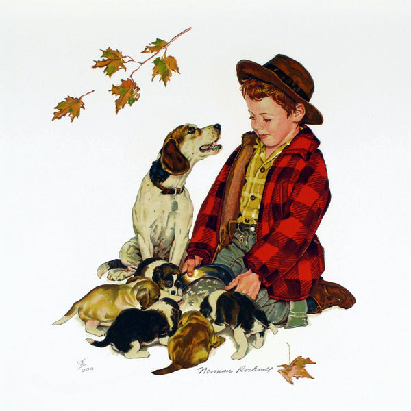 "Original Norman Rockwell ""Puppy Love"" Suite Set of (4) Signed Lithographs 72/200 - DJR Exchange"
