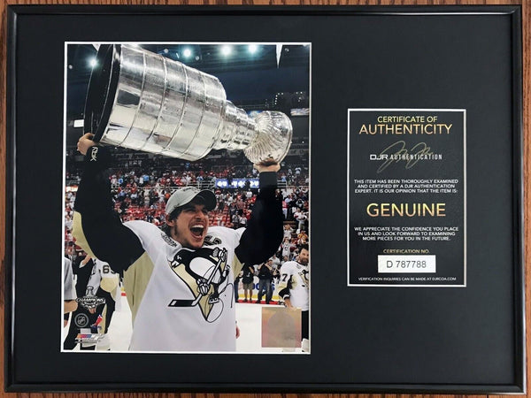 Sidney Crosby Pittsburg Penguins Signed Stanley Cup 8x10 Photo Framed DJR COA - DJR Authentication