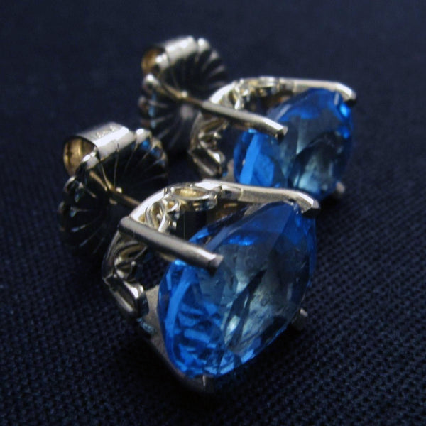 Solid 14K Yellow Gold 12 CTW Oval Cut Blue Topaz Stud Women's Earrings - DJR Authentication