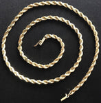 "Solid 14K Yellow Gold 3mm Twisted Diamond Cut 20"" Rope Chain Necklace - DJR Authentication"