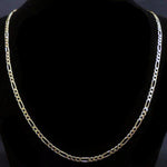 "Solid 14k Yellow Gold 3mm Figaro Link 20"" Chain Necklace"