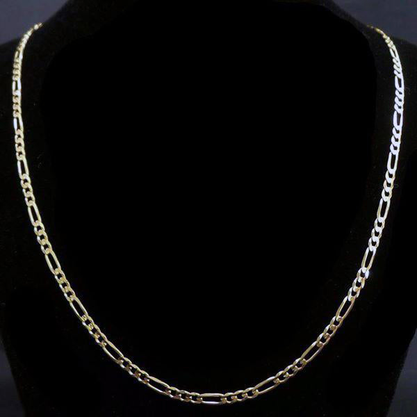 "Solid 14k Yellow Gold 3mm Figaro Link 20"" Chain Necklace-Women's Jewelry-DJR Authentication"