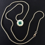 "Solid 18K Yellow Gold .77ct Natural Emerald Bezel Pendant w/ 20"" Chain - DJR Authentication"