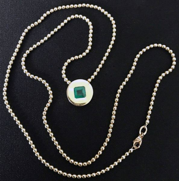 "Solid 18K Yellow Gold .77ct Natural Emerald Bezel Pendant w/ 20"" Chain - DJR Authentication An Appraisal & Authentication Co."
