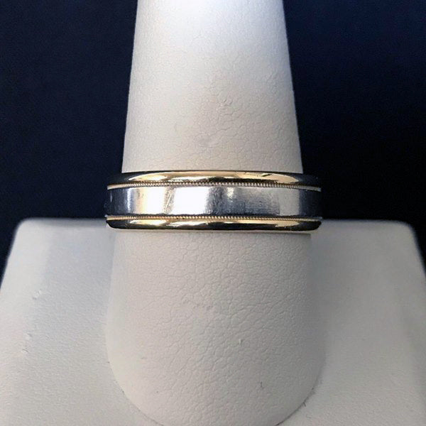Solid 18K Yellow Gold & 950 Platinum Two-tone 6mm Men's Wedding Band - Size 11 - DJR Authentication