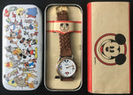 Vintage Mickey Mouse Minnie Donald Duck & Goofy Disney Watch w/ Original Tin - DJR Exchange