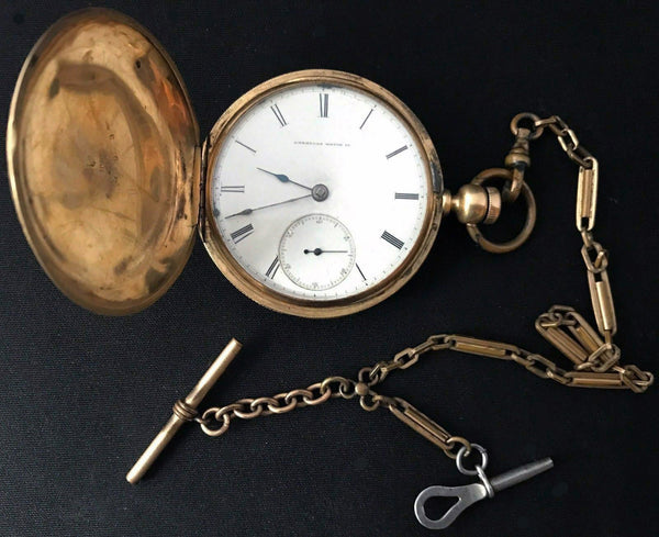 Waltham American Watch Co 1857 Pocket Watch 18K Yellow Gold Full Hunter w/ Key-Vintage & Antique-DJR Authentication