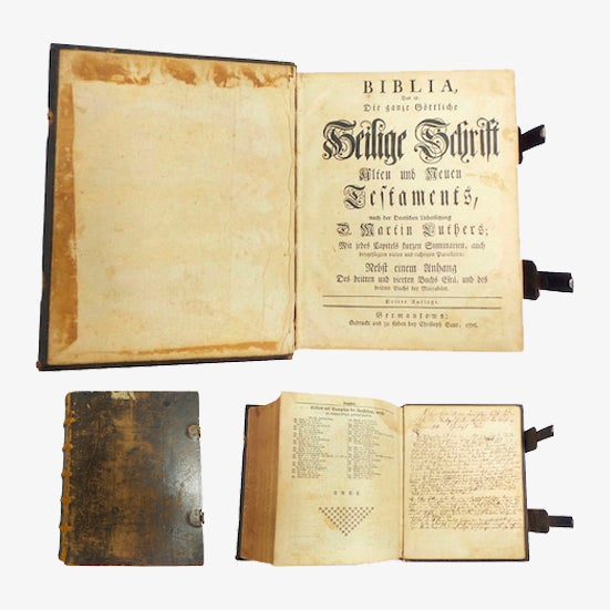 1776 Saur Gun Wad Bible - Martin Luther Ed. (Germanstown, PA)-Historical Memorabilia-DJR Authentication