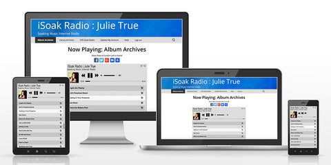 iSoak Radio – Now Featuring Full Streaming Access to All Julie True Soaking Albums, in addition to years' worth of soaking recordings from Julie's weekly live recording Library Archive on iSoak Radio.