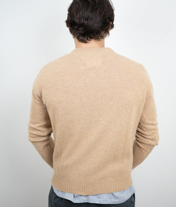 Vneck 100% Lambswool light camel