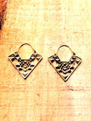 Aztec brass hoops earrings