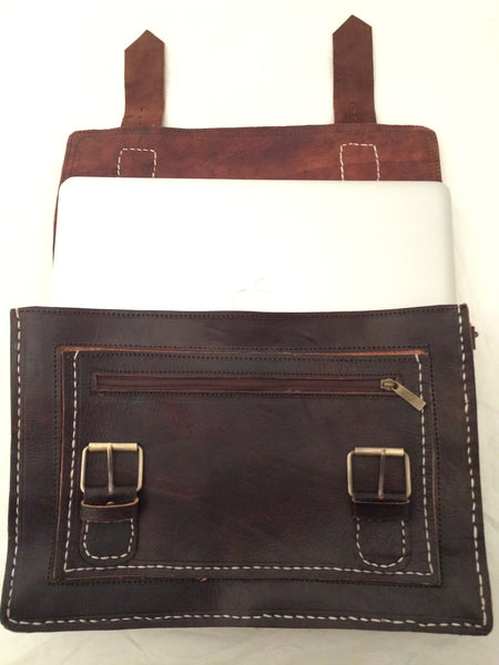 Moroccan Hand Made Leather Laptop Bag / Satchel