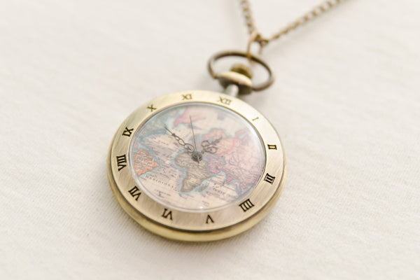 World Map Pocket Watch