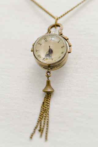 Globe Clock Pocket Watch Necklace with Chain Tassels