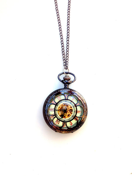 Art Deco Flower Glow In The Dark Mechanical Pocket Watch