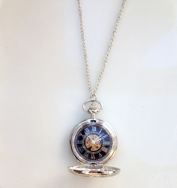 Art Deco Flower Mechanical Silver Pocket Watch