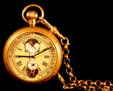 Vintage Solid Brass Mechanical Pocket Watch with Moon and Sun dial